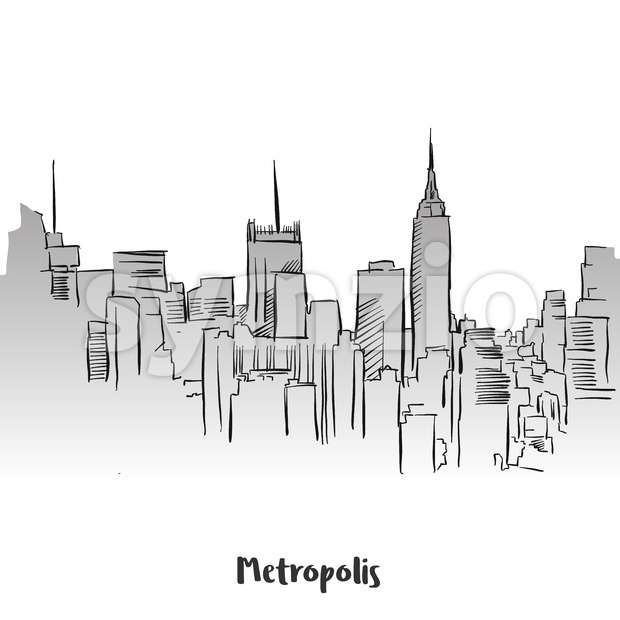 Metropolis Outline Silhouette Card Design, Hand-drawn Vector Outline Sketch