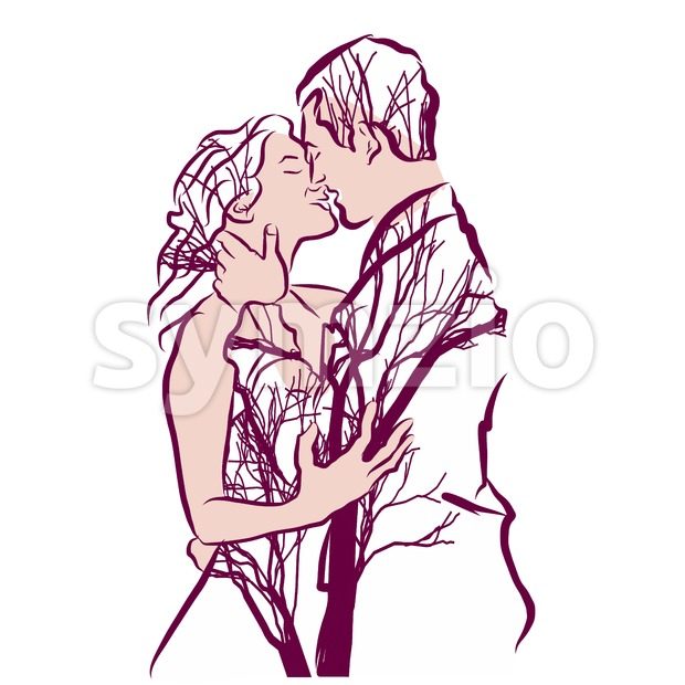 Couple and trees Tattoo Art Stock Vector
