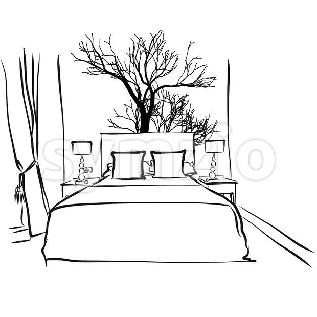 Hotel Room, Tree Decoration Design Stock Vector
