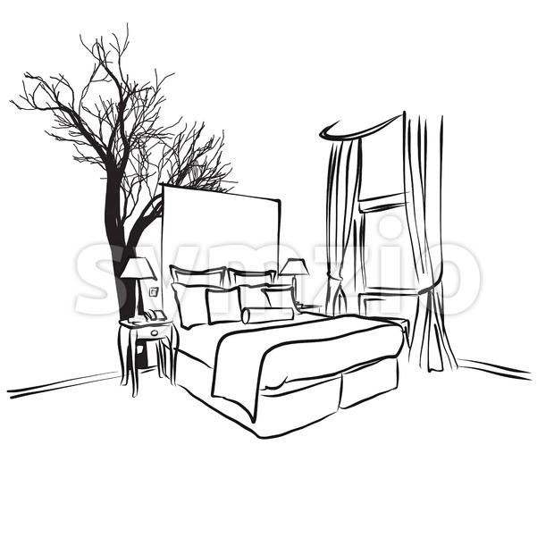 Tree and Furniture in Hotel Room Concept Stock Vector