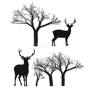 Reindeer and Trees isolated Stock Vector