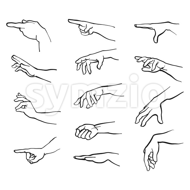 Hands gestures with arm Stock Vector