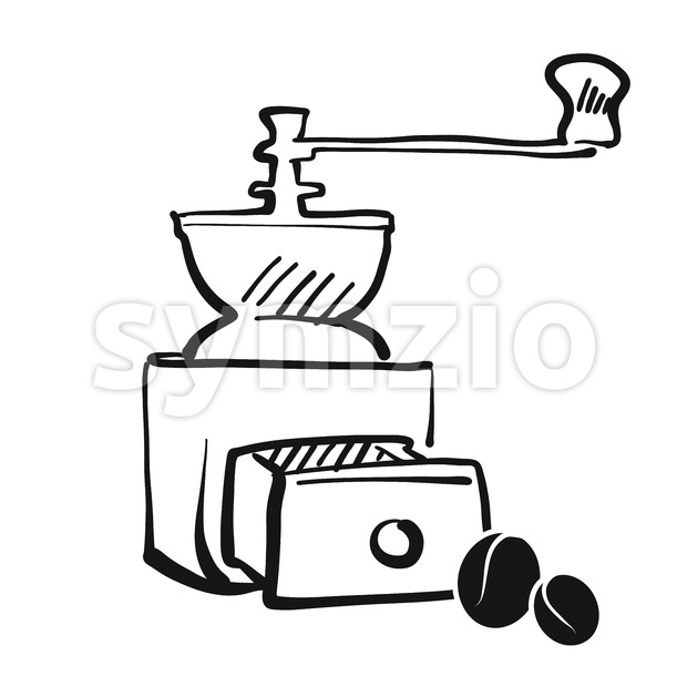Coffee grinder hand drawing Stock Vector