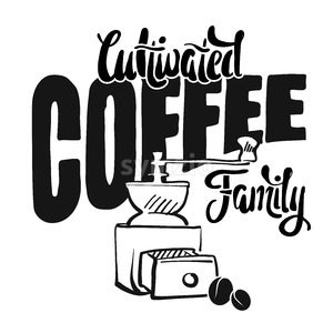 Cultivated coffee family - poster vintage style Stock Vector