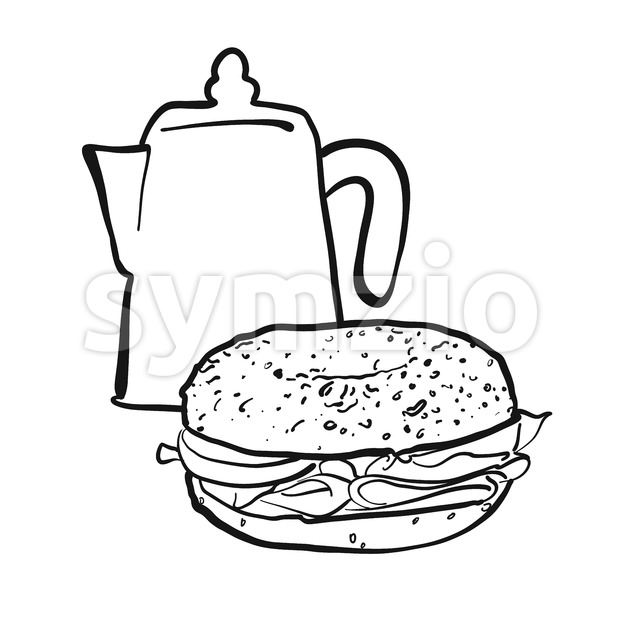 Coffee pot and bagel Stock Vector
