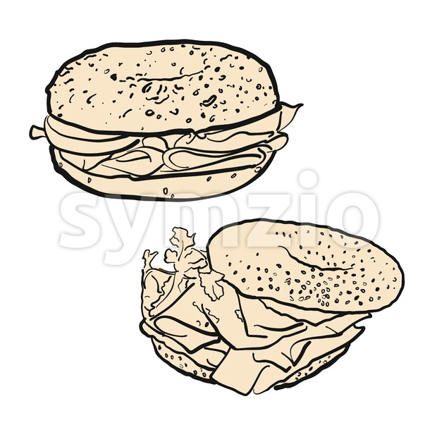 Two bagels, illustration Stock Vector