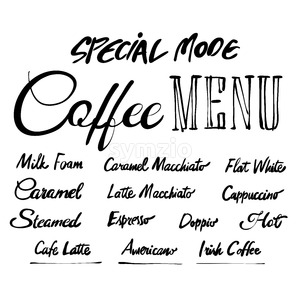 Coffee Menu Hand drawn typography Stock Vector