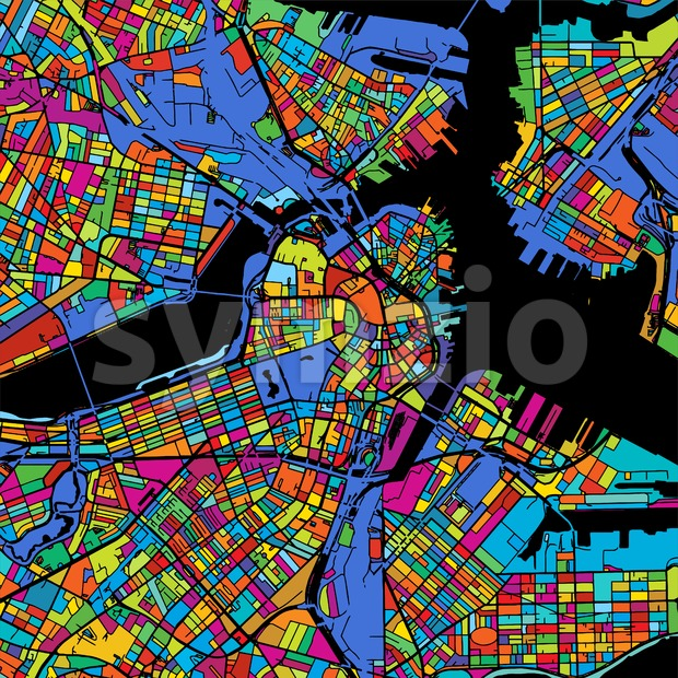 Boston Colorful Vector Map on Black Stock Vector