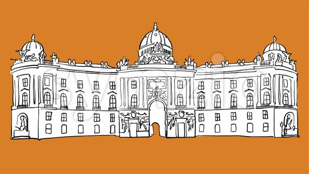 Hofburg Vienna Vector Sketch Stock Vector