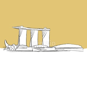 Singapore Marina Bay Vector Sketch Stock Vector