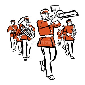 Red Colored Marching Band Illustration Stock Vector