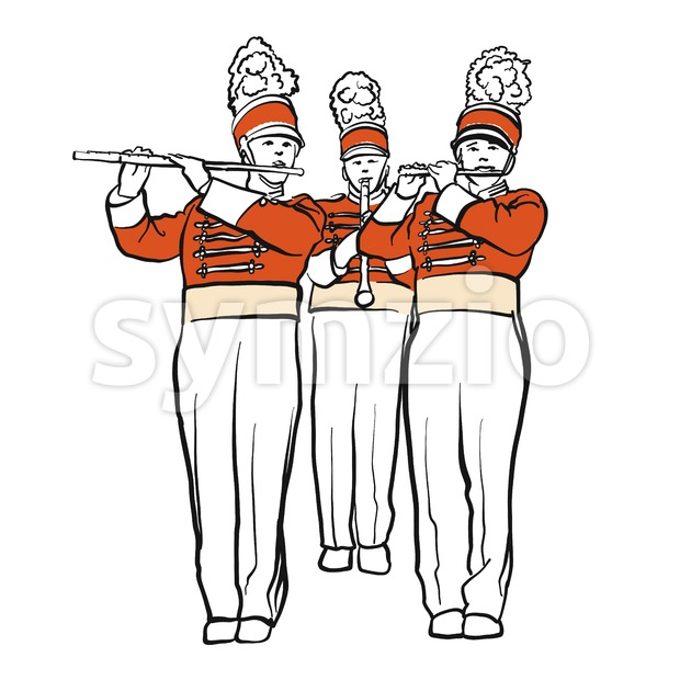 Red Colored Military Band Illustration, hand-drawn vector Outline sketch witch Background Shape