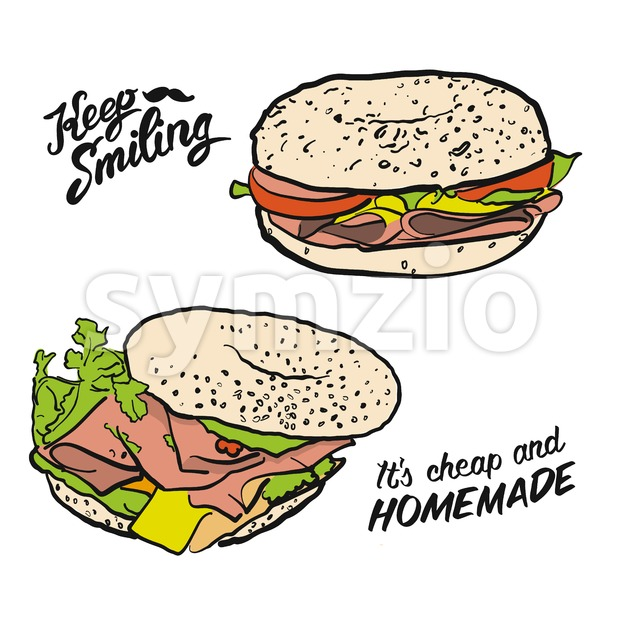 Colored Bagel Sandwich with handdrawn Type Stock Vector