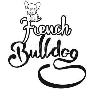French Bulldog Logo with cute Dog Stock Vector