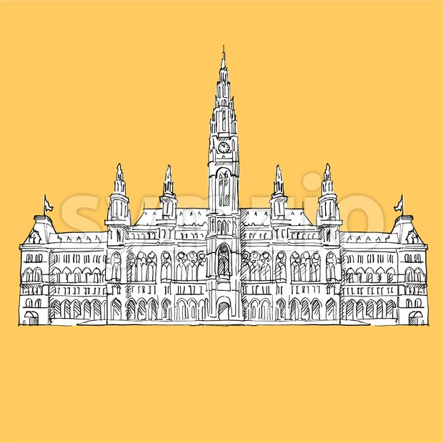 Vienna City Hall Vector Sketch Stock Vector