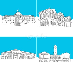 Singapore Public Landmark Vector Sketches Stock Vector