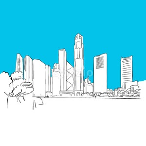 Singapore Republic Plaza Vector Sketch Stock Vector