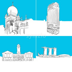 Singapore Famous Buildings Vector Sketches Stock Vector