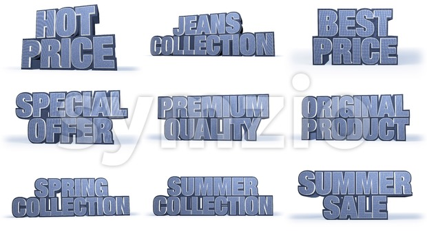 Jeans Collection Sales Campaign Titles Stock Photo