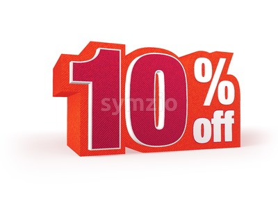10 percent off red wool styled discount price sign Stock Photo