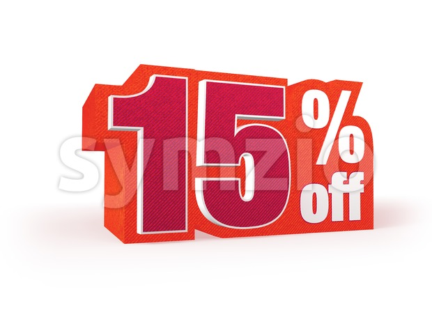 Discount price sign in red wool look, isolated on white background, 3D rendering