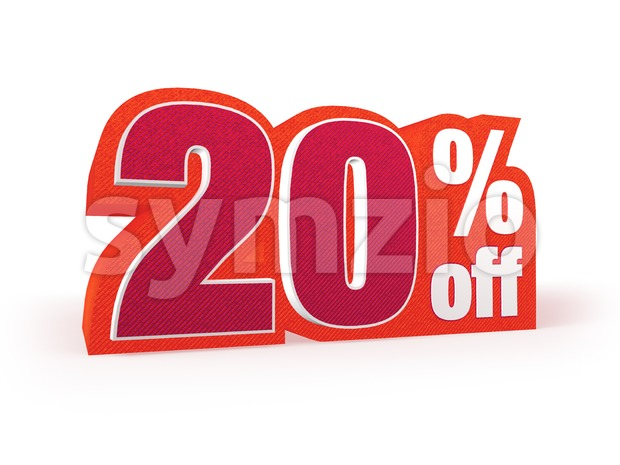 20 percent off red wool styled discount price sign Stock Photo