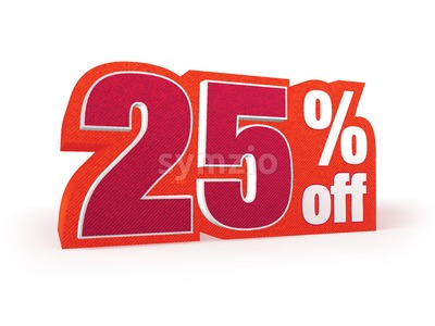 25 percent off red wool styled discount price sign Stock Photo