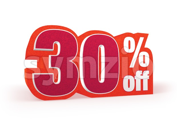 30 percent off red wool styled discount price sign Stock Photo