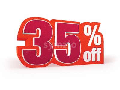 35 percent off red wool styled discount price sign Stock Photo