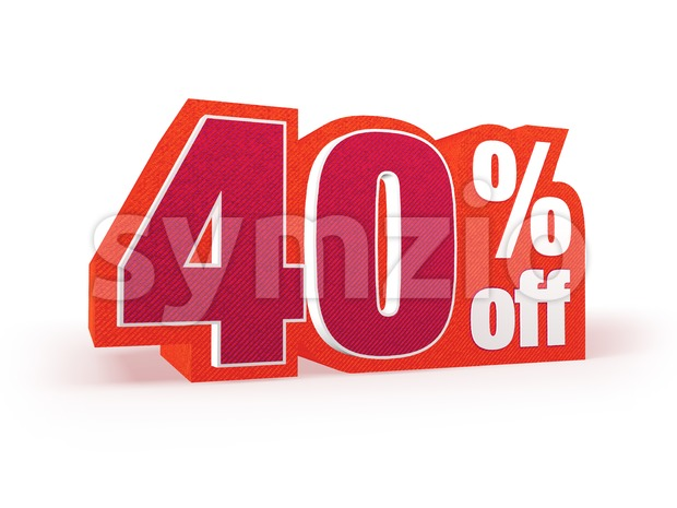 40 percent off red wool styled discount price sign Stock Photo