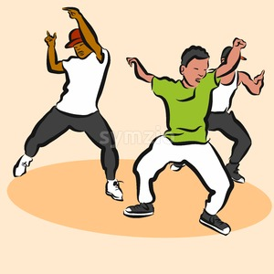 Three Boys, Hip Hop Choreography Stock Vector