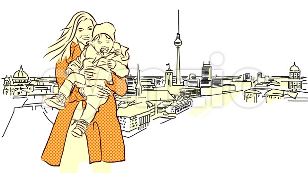 Woman with Child in Front of Berlin Panorama View. Stock Vector