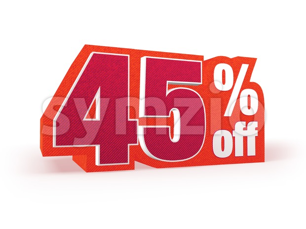 45 percent off red wool styled discount price sign Stock Photo