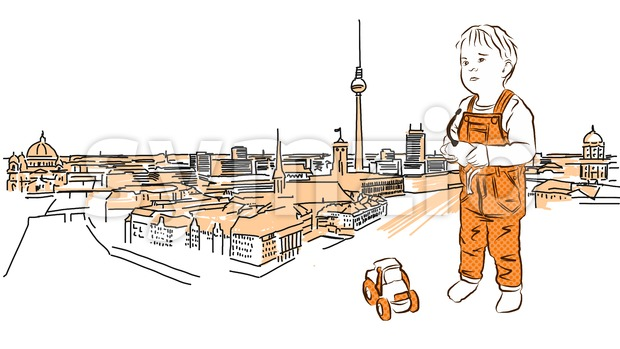 Little Child plays in Front of Berlin Panorama. Stock Vector