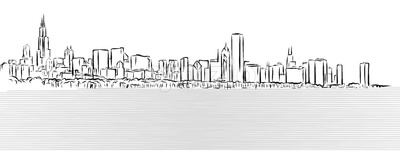 Chicago Outline Sketch with Michigan Lake in Foreground Stock Vector