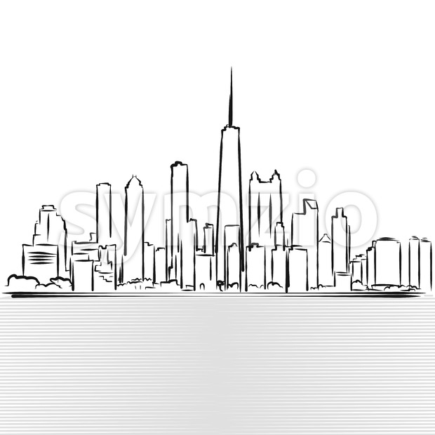 Chicago Skylinie Sketch. View from Michigan Lake Stock Vector