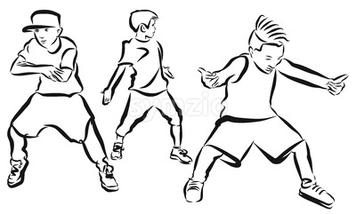 Three Boys, coloring Page, Hip Hop Choreography Stock Vector