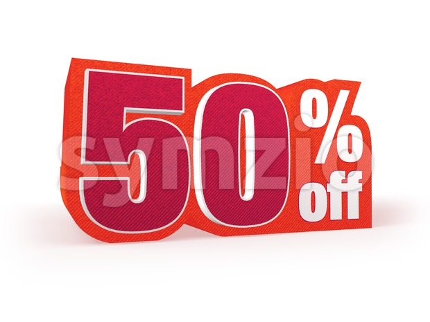 50 percent off red wool styled discount price sign Stock Photo