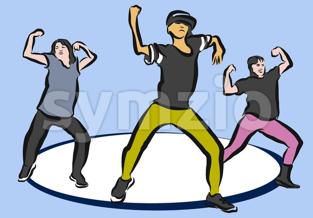 Hip Hop Choreography on Blue Stock Vector