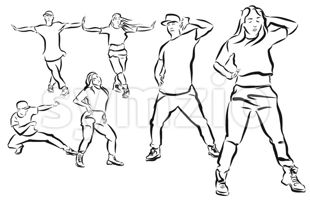 Three Poses Duett, Hip Hop Choreography Coloring Page Stock Vector