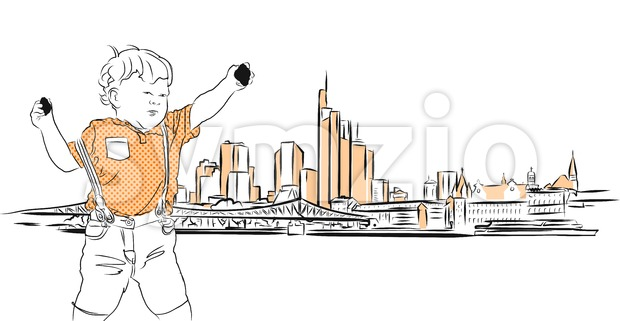 Frankfurt Main Downtown and Little Boy with Rocks Stock Vector