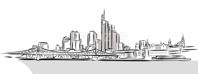 Frankfurt Main Downtown Outline Sketch Stock Vector