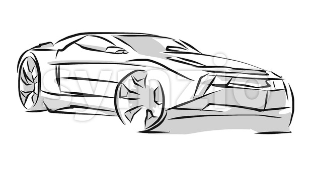 Sports Car Line Art Sketch Stock Vector