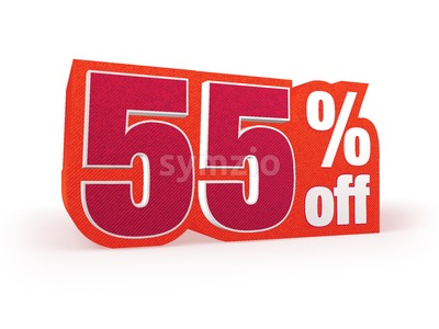 55 percent off red wool styled discount price sign Stock Photo