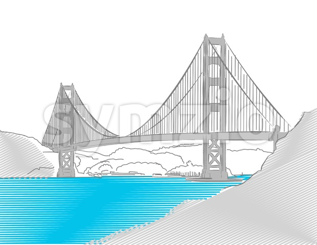Golden Gate Bridge, San Francisco, Colored Sketch Stock Vector