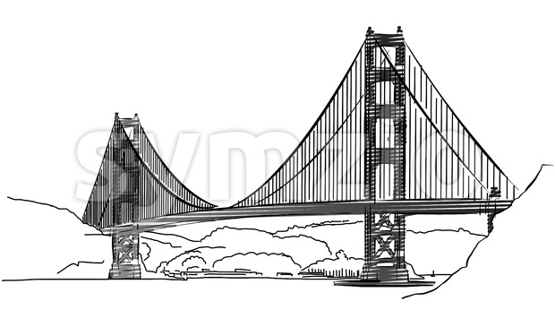 Golden Gate Bridge, San Francisco, Outline Sketch Stock Vector