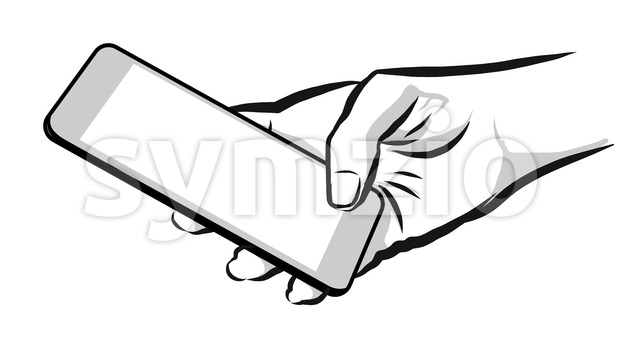 Sketched Hand Holding Mobile Phone Stock Vector