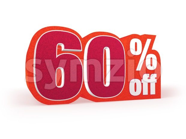 60 percent off red wool styled discount price sign Stock Photo