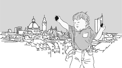 Little Boy with Rocks in Front of Leipzig. Stock Vector