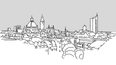 Leipzig Skyline Vector Outline Sketch Stock Vector
